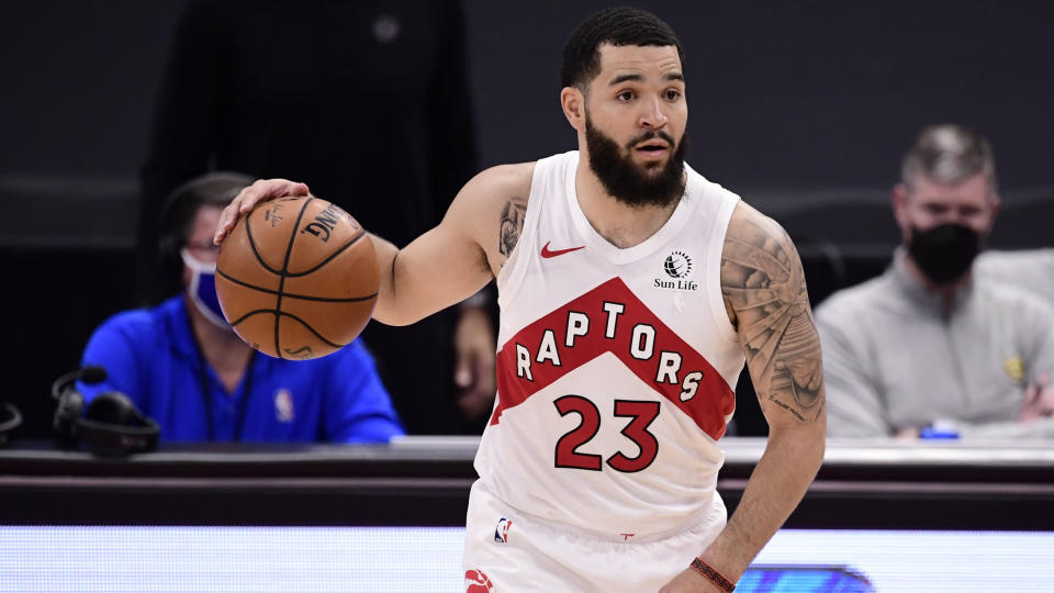 TAMPA, FLORIDA - MARCH 24: Fred VanVleet #23 of the Toronto Raptors dribbles the ball during the third quarter against the Denver Nuggets at Amalie Arena on March 24, 2021 in Tampa, Florida. NOTE TO USER: User expressly acknowledges and agrees that, by downloading and or using this photograph, User is consenting to the terms and conditions of the Getty Images License Agreement. (Photo by Douglas P. DeFelice/Getty Images)