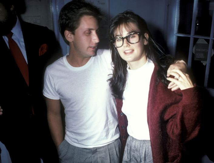 "Emilio Estevez and Demi Moore were romantically entangled from 1985 - 1987. After starring in 1985's ""St. Elmo's Fire,"" <a href=""http://www.zimbio.com/dating/aVh7uTRFCeI/Emilio+Estevez+engaged+Demi+Moore/Demi+Moore"" rel=""nofollow noopener"" target=""_blank"" data-ylk=""slk:the pair became engaged but never made it to the church"" class=""link rapid-noclick-resp"">the pair became engaged but never made it to the church</a>."