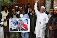 Pakistani demonstrators defaced images of French President Emmanuel Macron in Quetta on Monday