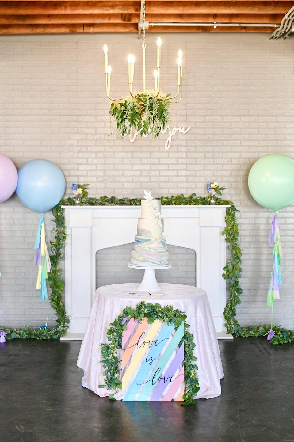 """<p>Give your venue a touch of the great outdoors when you add leafy green garland to the space. Hang it from the lights, across the mantel, and on different signs to make it stand out. The best part about this <a class=""""link rapid-noclick-resp"""" href=""""https://www.popsugar.co.uk/tag/DIY"""" rel=""""nofollow noopener"""" target=""""_blank"""" data-ylk=""""slk:DIY"""">DIY</a> idea is that not only is garland affordable, but it also comes in a lot of variations (think flowers, tassels, beads, and more).</p>"""