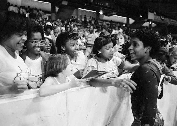 Dianne Durham, seen here at the 1983 national championships, is finally being inducted into the Gymnastics Hall of Fame. Durham, the first Black woman to win a title in the sport, died in February. (AP/Lisa Genesen)