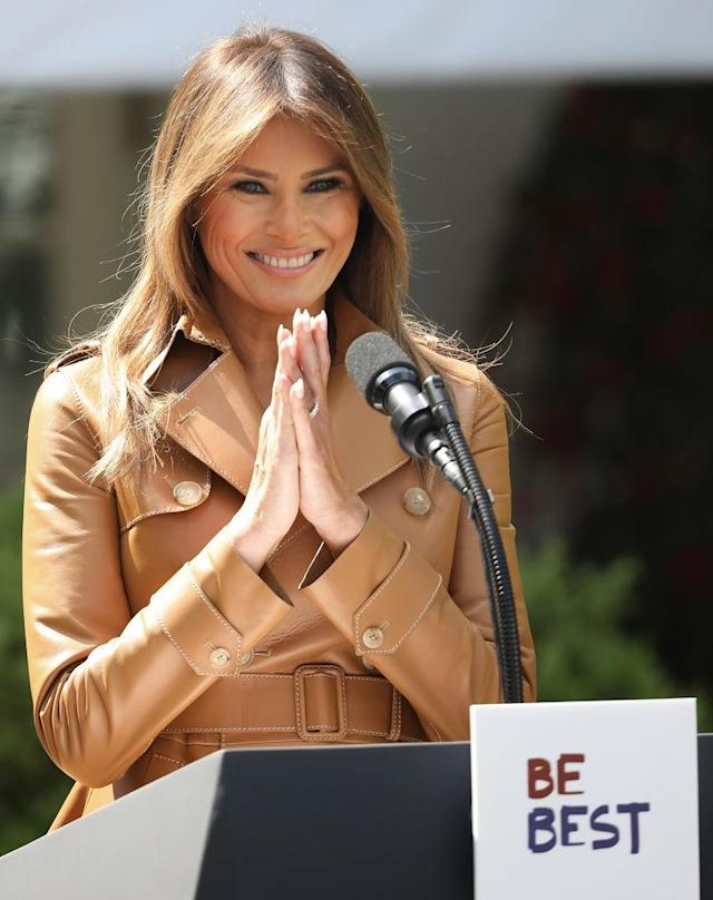 First lady Melania Trump speaks in the Rose Garden of the White House on May 7, 2018. (Photo: Win McNamee/Getty Images)