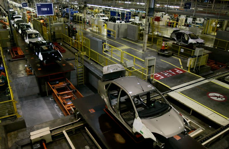 Cars are lined up at Ford Motor Company assembly line in Camacari