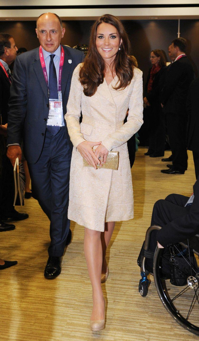 <p>For another repeat, Kate wore the coat when she made an appearance at the London Paralympic Games. No hat at all this time! The coat is sad. </p>
