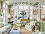"""<p>Is there anything better than mixing up a cocktail to take outside during pleasant weather or enjoy inside with a view of the garden? At <a href=""""https://www.veranda.com/decorating-ideas/house-tours/a34244489/miles-redd-greenwich-house-tour/"""" rel=""""nofollow noopener"""" target=""""_blank"""" data-ylk=""""slk:this Connecticut home designed by Miles Redd"""" class=""""link rapid-noclick-resp"""">this Connecticut home designed by Miles Redd</a>, the sunroom features a built in bar on one side, along with a delightful trompe l'oeil tent decoration embellishing the curved ceiling. The chairs and sofa (the latter from a Sister Parish–decorated apartment) are covered in <a href=""""https://www.stylelibrary.com/sanderson/"""" rel=""""nofollow noopener"""" target=""""_blank"""" data-ylk=""""slk:Sanderson"""" class=""""link rapid-noclick-resp"""">Sanderson</a>'s rose-printed Chelsea fabric. Ceiling artistry, Agustin Hurtado</p>"""
