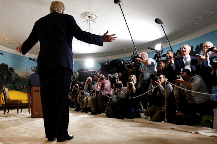 U.S. President Donald Trump speaks to reporters after signing a proclamation declaring his intention to withdraw from the JCPOA Iran nuclear agreement in the Diplomatic Room at the White House in Washington, U.S. May 8, 2018. (Jonathan Ernst/Reuters)