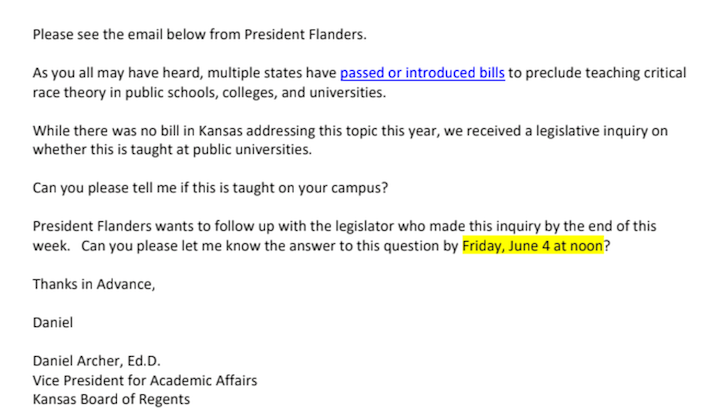 Excerpt of an email from Daniel Archer at the Kansas Board of Regents to university provosts asking for information about the teaching of critical race theory.