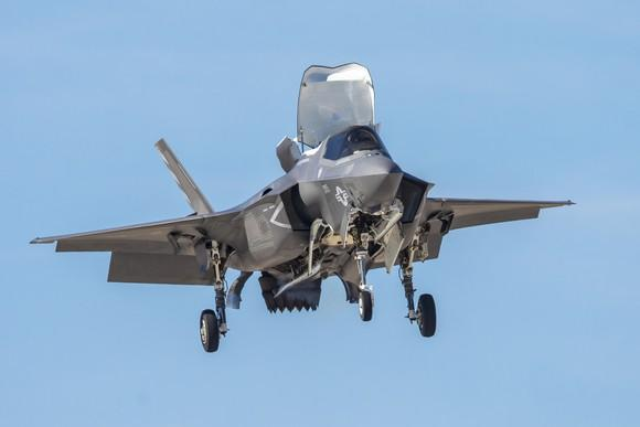 F-35 hovering with cockpit open