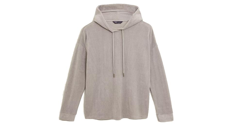 Velour Textured Relaxed Hoodie