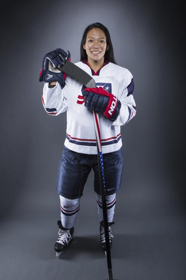 Olympic hockey player Julie Chu poses for a portrait during the 2013 U.S. Olympic Team Media Summit in Park City, Utah October 2, 2013. REUTERS/Lucas Jackson (UNITED STATES - Tags: SPORT OLYMPICS PORTRAIT ICE HOCKEY)