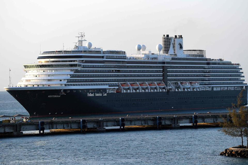 Holland America's MS Westerdam arrives at the port in Sihanoukville, Cambodia on Thursday, Feb. 13. The ship was turned away from three other disembarkation ports in Japan, Guam and Thailand despite not having any cases of coronavirus on board.