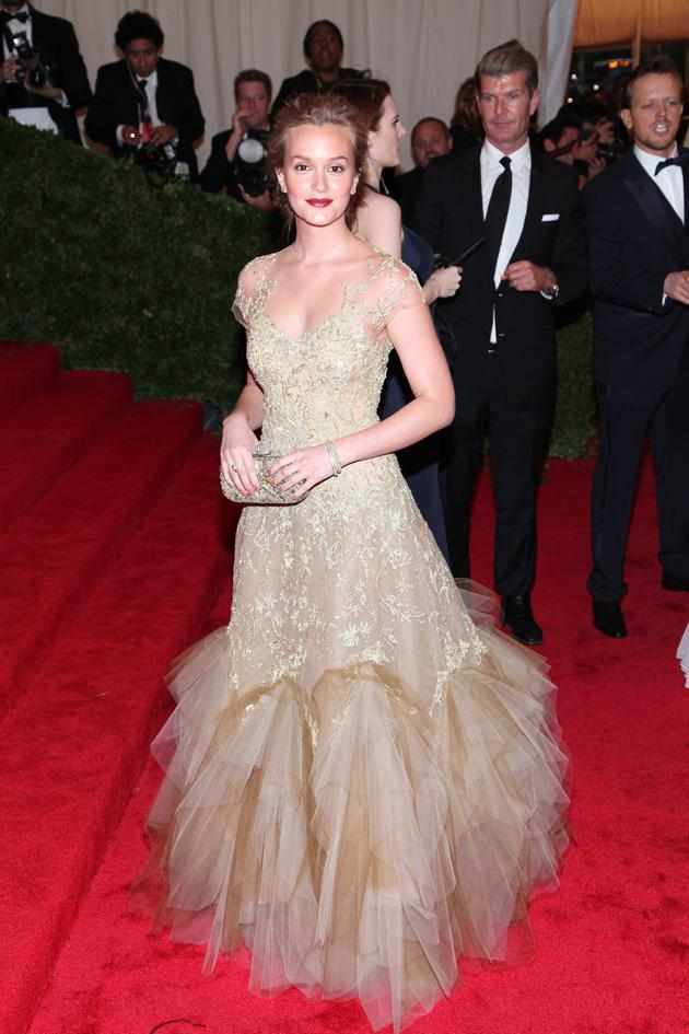 Leighton Meester looked lovely in her Marchesa number / WENN