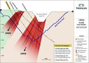 Section N14300; View of drill hole TLG-ZJ21-226
