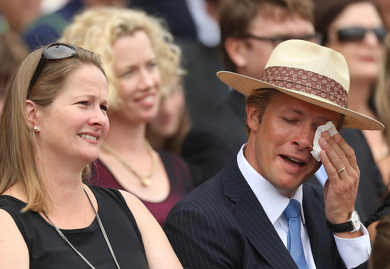 SYDNEY, AUSTRALIA - JANUARY 20:  Sam and Mark Greig attend the Tony Greig memorial service at Sydney Cricket Ground on January 20, 2013 in Sydney, Australia.  (Photo by Mark Metcalfe/Getty Images)
