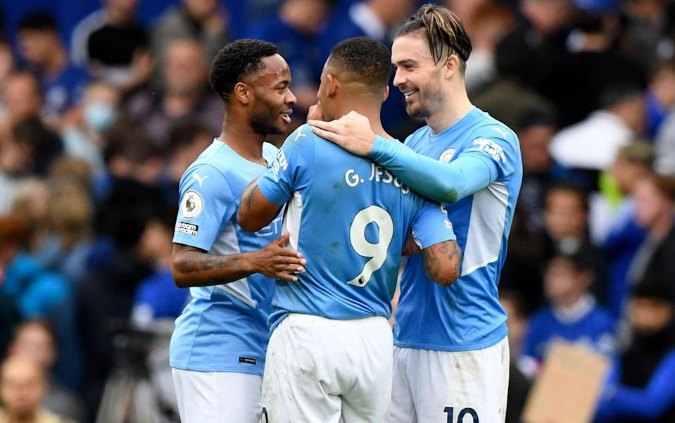 Gabriel Jesus (centre) scored the only goal of the game at Stamford Bridge - SHUTTERSTOCK