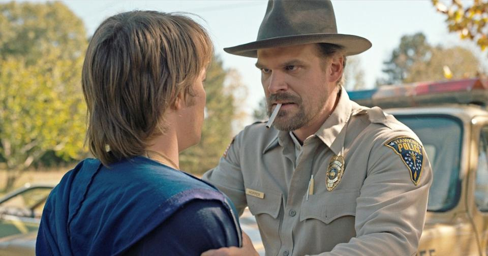 David Harbour, on the tabs as Jim Hopper in Stranger Things (Credit: Netflix)