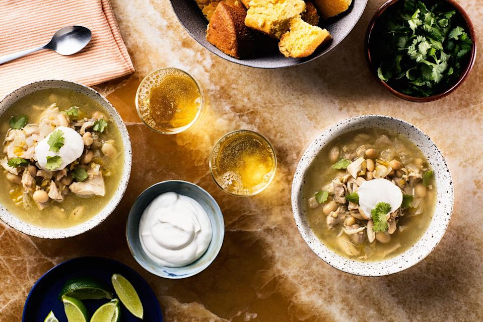 """For easy, hands-off dinner prep, throw the ingredients for this hearty chili into your slow cooker, or create a freezer packet that's slow cooker–ready any time you please. <a href=""""https://www.epicurious.com/recipes/food/views/slow-cooker-white-chicken-chili?mbid=synd_yahoo_rss"""" rel=""""nofollow noopener"""" target=""""_blank"""" data-ylk=""""slk:See recipe."""" class=""""link rapid-noclick-resp"""">See recipe.</a>"""