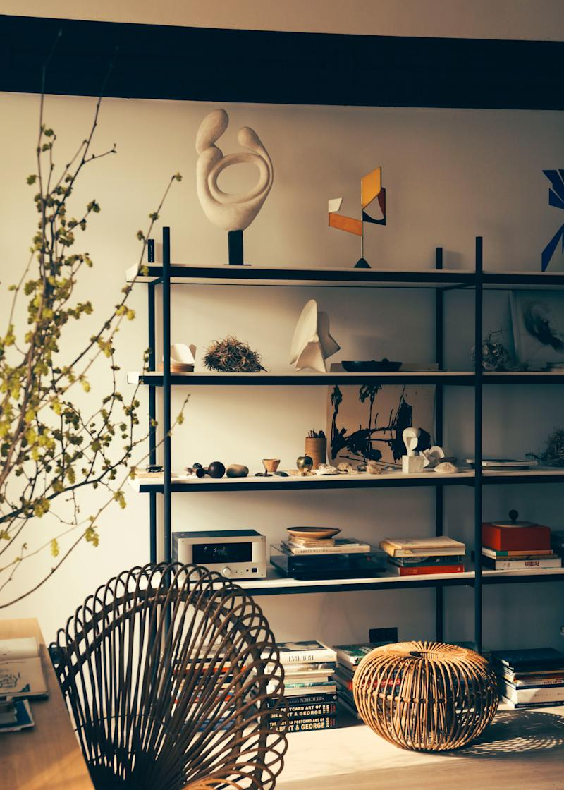 Shelving designed by Champsaur displays his various collections.