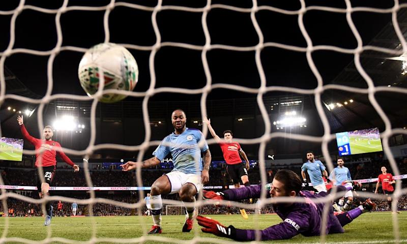 Raheem Sterling turns the ball into the net only for the goal to be ruled out for offside.