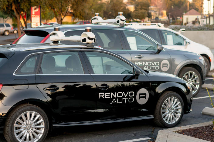 This 2018, photo provided by Renovo/Woven Planet shows Renovo's automated driving test fleet in Calif. Japanese automaker Toyota is revving up acquisitions in mobility technology, adding Renovo Motors Inc., a Silicon Valley software developer, to its Woven Planet team, which is working on automated driving. (Renovo/Woven Planet via AP)