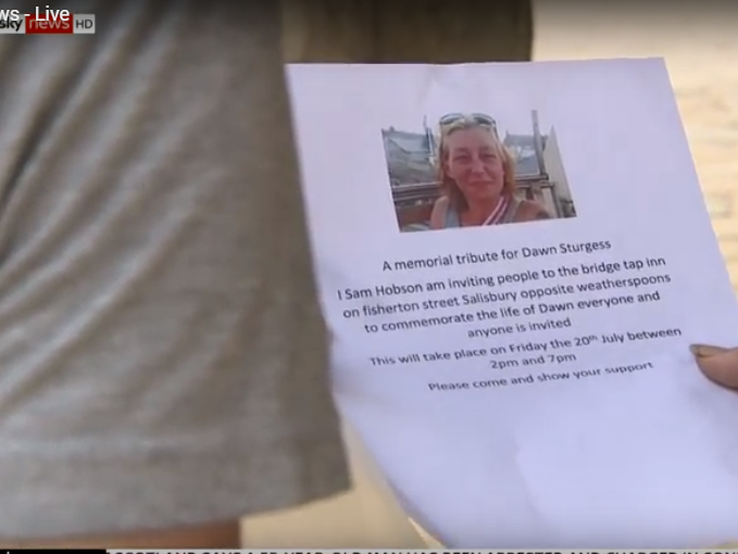 Invitations to a memorial service are being circulated in Amesbury by Dawn Sturgess's friends: Sky News