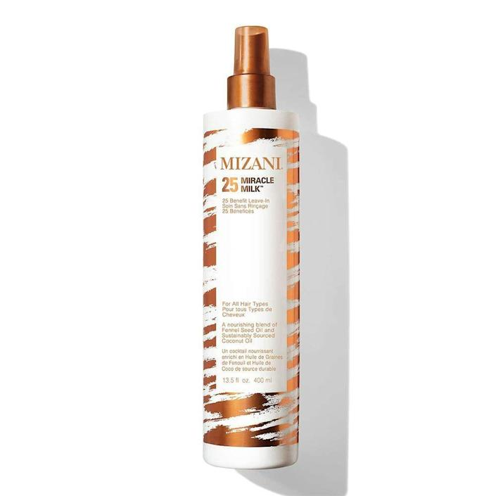 """<p><strong>MIZANI</strong></p><p>amazon.com</p><p><strong>$23.00</strong></p><p><a href=""""https://www.amazon.com/dp/B00XXO2K4O?tag=syn-yahoo-20&ascsubtag=%5Bartid%7C10051.g.36740831%5Bsrc%7Cyahoo-us"""" rel=""""nofollow noopener"""" target=""""_blank"""" data-ylk=""""slk:Shop Now"""" class=""""link rapid-noclick-resp"""">Shop Now</a></p><p>For me, detangling is a painful, awful process that takes forever and transports me to my childhood in a bad way. This detangling and leave-in conditioner spray makes it a breeze, while adding hydration and shine. </p>"""