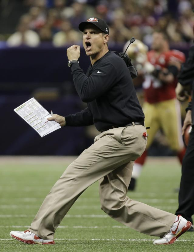 San Francisco 49ers head coach Jim Harbaugh reacts to a play during the first half of the NFL Super Bowl XLVII football game against the Baltimore Ravens, Sunday, Feb. 3, 2013, in New Orleans. (AP Photo/Matt Slocum)