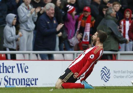Sunderland's Fabio Borini celebrates scoring their second goal