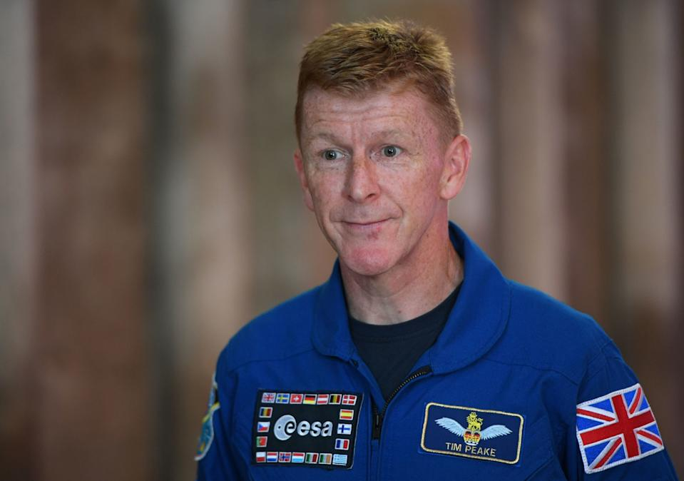 Major Tim Peake at Peterborough Cathedral as the Soyuz descent module, the spacecraft which brought him back to Earth after his mission to the International Space Station, goes on display. (Photo by Joe Giddens/PA Images via Getty Images)