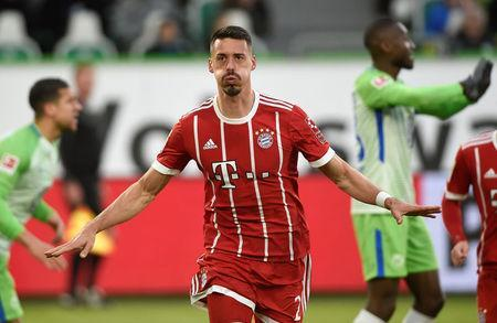 Soccer Football - Bundesliga - VfL Wolfsburg vs Bayern Munich - Volkswagen Arena, Wolfsburg, Germany - February 17, 2018 Bayern Munich's Sandro Wagner celebrates scoring their first goal REUTERS/Fabian Bimmer