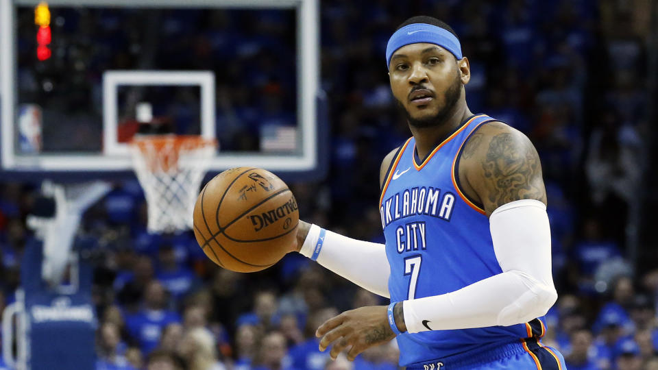 Carmelo Anthony will try to do in Houston what he could not for Oklahoma City. (AP)