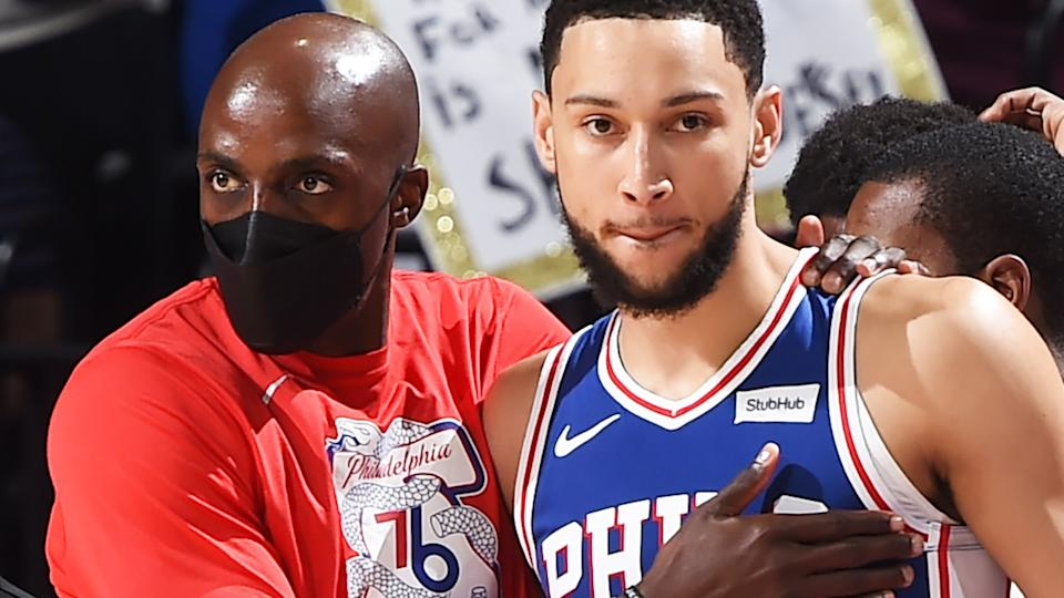 Philadelphia 76ers fans are unhappy that Aussie star Ben Simmons was outvoted for the NBA's Defensive Player of the Year award. (Photo by David Dow/NBAE via Getty Images)