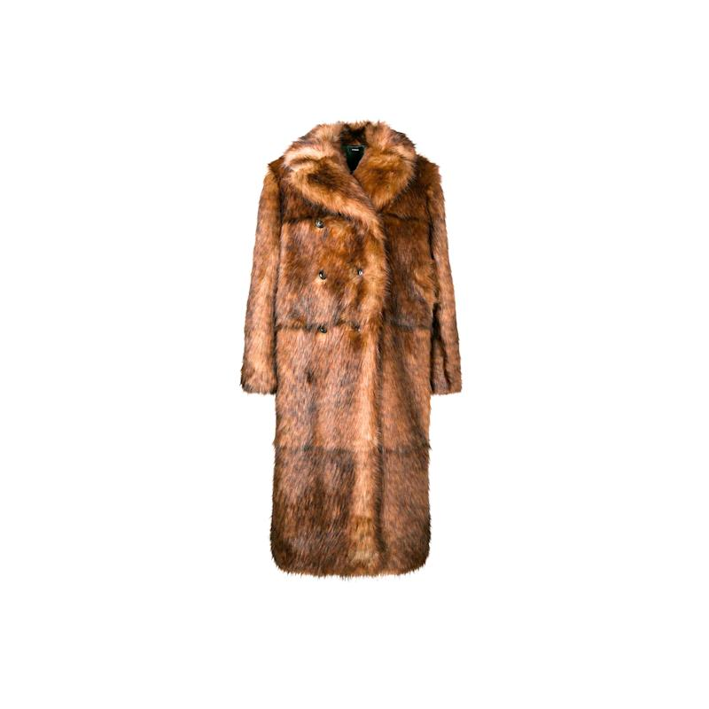 Kwaidon Editions is one of the hip new labels that may help take over the gap left by old Céline. This brown double-breasted faux fur may as well double as a blanket for January's coldest days. Buy now: Kwaidon Editions, $1,149, farfetch.com.