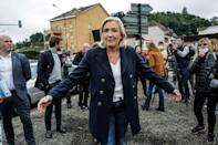 """French far-right leader Marine Le Pen, who polls show as Emmanuel Macron's closest rival in the upcoming presidential election, went on the attack over what she has called the """"humiliation of France"""" in the Pacific (AFP/Olivier CHASSIGNOLE)"""