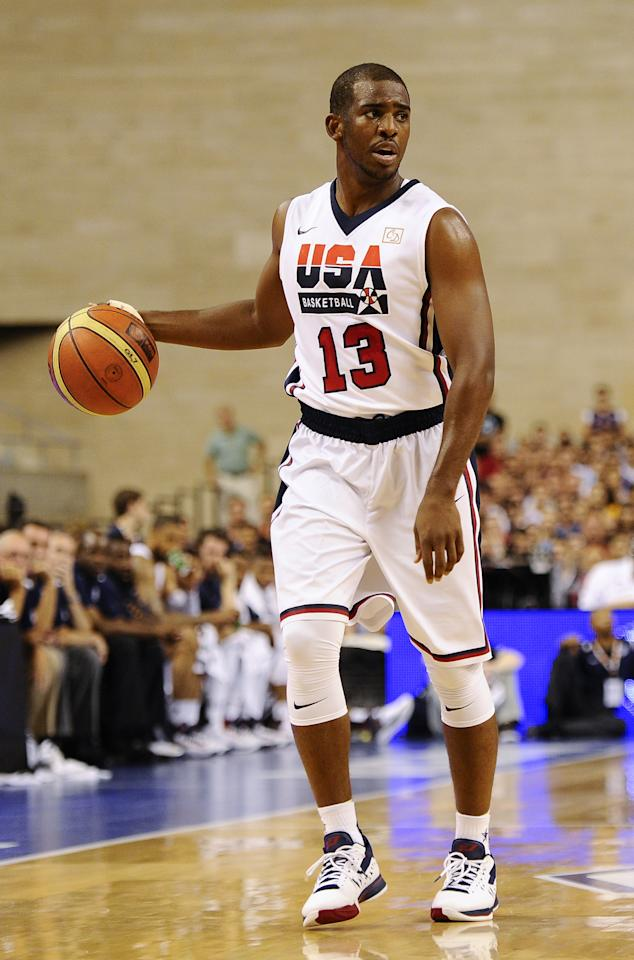 BARCELONA, SPAIN - JULY 22: Chris Paul #13 of the US Men's Senior National Team in action during a Pre-Olympic Men's Exhibition Game between USA and Argentina at Palau Sant Jordi, on July 22, 2012 in Barcelona, Spain.  (Photo by David Ramos/Getty Images)