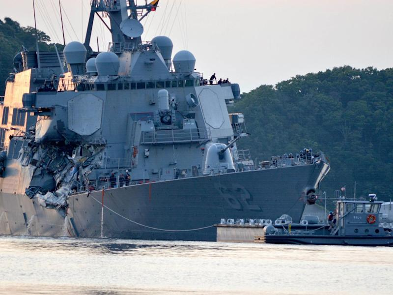 Crash comes two months after USS Fitzgerald was caught in deadly collision (Reuters)