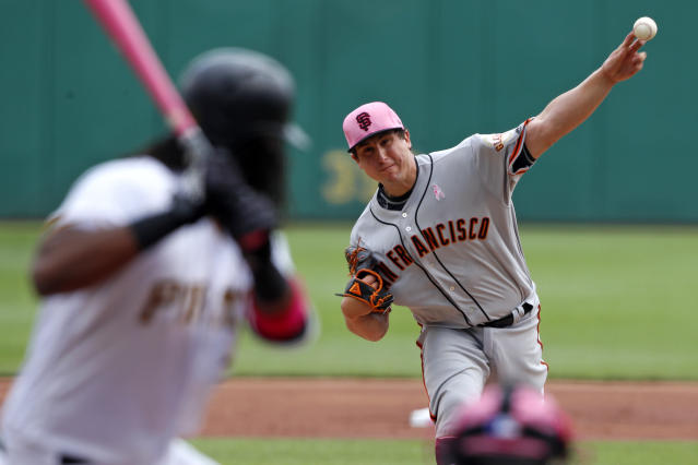 San Francisco Giants starting pitcher Derek Holland delivers in the first inning of a baseball game against the Pittsburgh Pirates in Pittsburgh, Sunday, May 13, 2018. The Pirates won 6-5. (AP Photo/Gene J. Puskar)