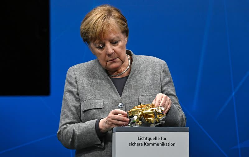 German Chancellor Angela Merkel participates in the Digital Summit 2020 at the Chancellery in Berlin