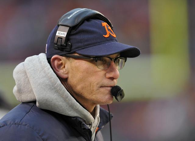 Chicago Bears head coach Marc Trestman watches from the sidelines in the fourth quarter of an NFL football game against the Cleveland Browns, Sunday, Dec. 15, 2013, in Cleveland. (AP Photo/David Richard)
