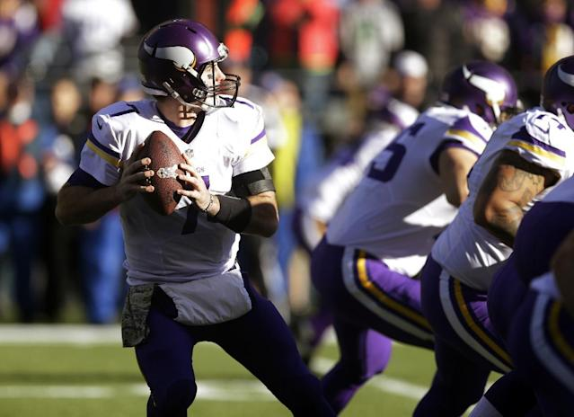 Minnesota Vikings quarterback Christian Ponder drops back against the Seattle Seahawks in the first half of an NFL football game Sunday, Nov. 17, 2013, in Seattle. (AP Photo/Ted S. Warren)