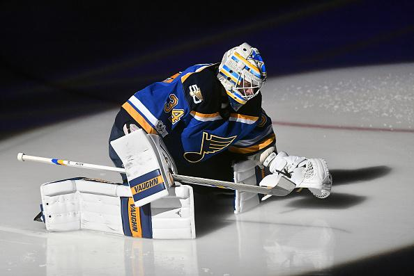 ST. LOUIS, MO - JANUARY 05: St. Louis Blues goalie Jake Allen (34) warms up before a NHL game between the Carolina Hurricanes and the St. Louis Blues on January 05, 2017, at Scottrade Center in St. Louis, MO. Carolina won, 4-2. (Photo by Keith Gillett/Icon Sportswire via Getty Images)