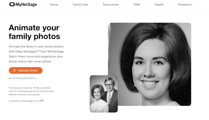 The genealogy platform MyHeritage released a feature that animates faces in still photos usingvideo reenactment technology.