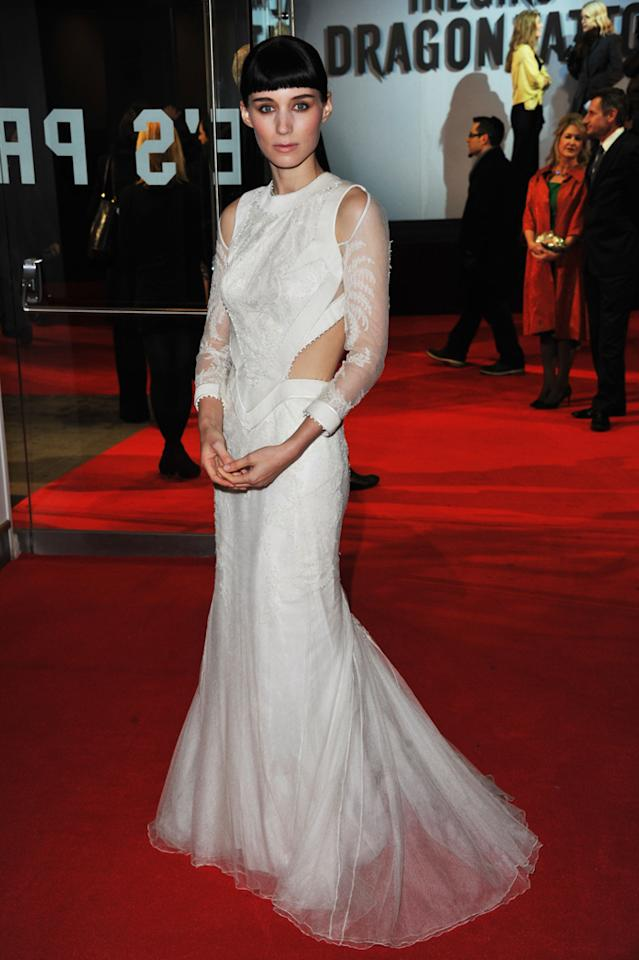 """<a href=""""http://movies.yahoo.com/movie/contributor/1809789186"""">Rooney Mara</a> at the London premiere of <a href=""""http://movies.yahoo.com/movie/1810163569/info"""">The Girl With the Dragon Tattoo</a> on December 12, 2011."""