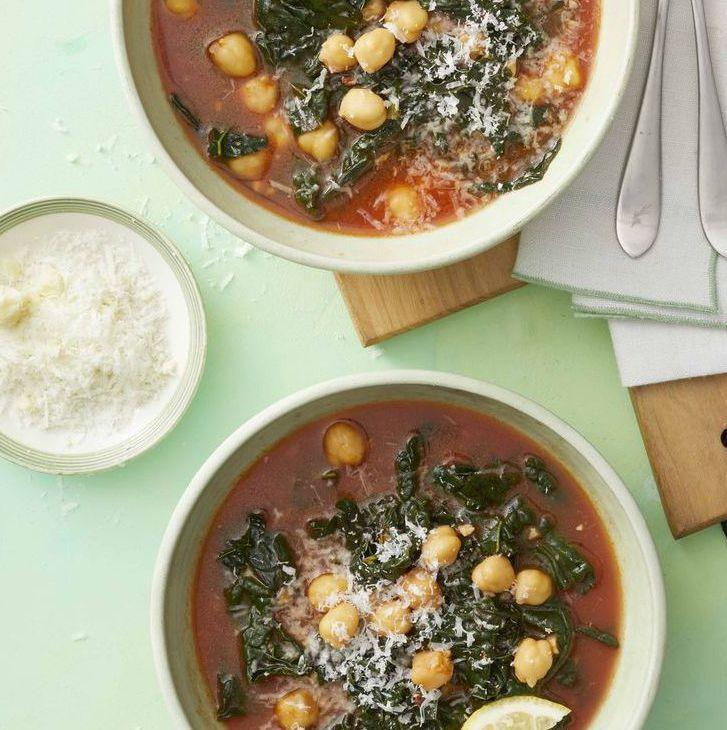 """<p>A one-pot meal is the perfect for busy weeknights. Add all of the ingredients to your dutch oven, and, in less than 30 minutes, you'll have a rich, hearty soup at the ready. </p><p><em><a href=""""https://www.womansday.com/food-recipes/food-drinks/a25941056/kale-and-chickpea-soup-recipe/"""" rel=""""nofollow noopener"""" target=""""_blank"""" data-ylk=""""slk:Get the Kale and Chickpea Soup recipe."""" class=""""link rapid-noclick-resp"""">Get the Kale and Chickpea Soup recipe.</a></em></p><p><strong>RELATED: </strong><a href=""""https://www.womansday.com/food-recipes/food-drinks/g42/fall-soup-recipes/"""" rel=""""nofollow noopener"""" target=""""_blank"""" data-ylk=""""slk:30 Delicious Fall Soups to Make on a Chilly Day"""" class=""""link rapid-noclick-resp"""">30 Delicious Fall Soups to Make on a Chilly Day</a></p>"""