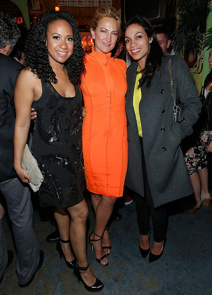 "NEW YORK, NY - APRIL 21:  Actors Tracie Thoms, Zoe Bell and Rosario Dawson attend the ""Raze"" World Premiere After Party at the 2013 Tribeca Film Festival on April 21, 2013 in New York City.  (Photo by Jemal Countess/Getty Images)"