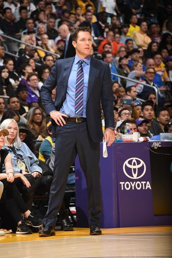 LOS ANGELES, CA - APRIL 9: Head Coach Luke Walton of the Los Angeles Lakers looks on against the Portland Trail Blazers on April 9, 2019 at STAPLES Center in Los Angeles, California. (Photo by Andrew D. Bernstein/NBAE via Getty Images)