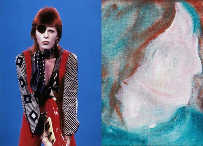 """David Bowie performing on the Dutch TV show TopPop (left) and his painting """"DHead XLVI"""" (right)."""