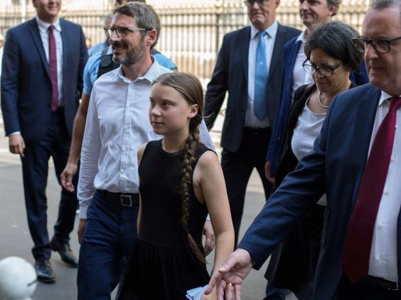 Greta Thunberg arrives for her meeting in the French National Assembly in Paris (AP)