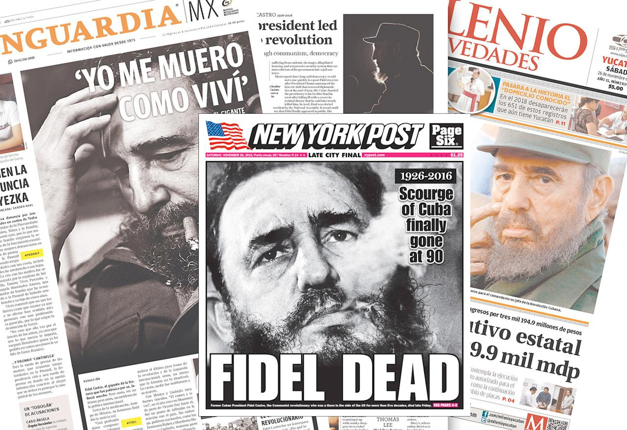 <p>Covers of Vanguardia, New York Post, San Francisco Chronicle and Milenio Novedades. (Newseum.org) </p>