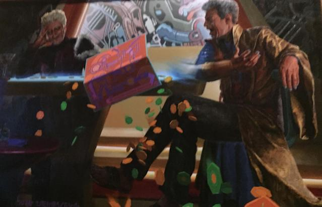 The Grandmaster is apparently a sore loser, especially when it comes to his brother, as this family portrait reveals in Disneyland's <i>Guardians of the Galaxy </i>— Mission: Breakout ride. (Photo: Yahoo Entertainment)